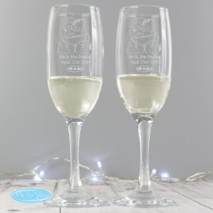 Me To You Engraved Wedding Pair of Flutes with Gift Box