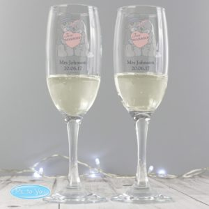 Me To You Wedding Pair of Flutes with Gift Box