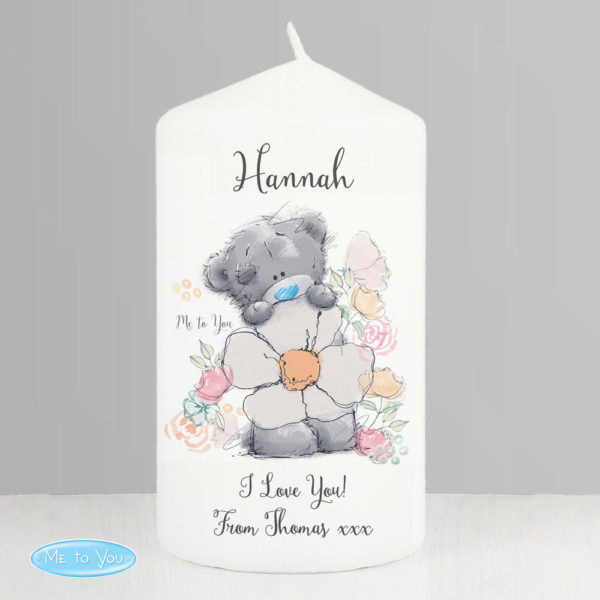 Me to You Floral Pillar Candle
