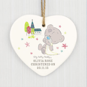 Tiny Tatty Teddy Christening Ceramic Heart Decoration