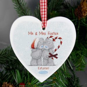 Me To You Couple Christmas Wooden Heart Decoration